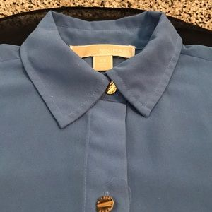 Blue Michael Kors collared top